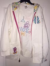 NEW No Tags Disney Parks Women's XL White Hooded Sweatshirt 2015 Embroidered
