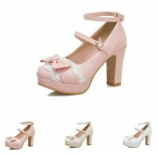 Sweet Mary Janes Womens Princess Bowknot Ankle Strap Buckle Round Toe Shoes @