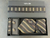 BNIB Mens 100% Pure Silk Black/Gold Formal Tie Cufflinks & Kerchief Box Set