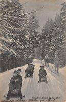 GLUCKLICHES NEUJAHR -SLEDS & SKIERS-GERMAN NEW YEAR POSTCARD 1909 PMK ELGERSBURG
