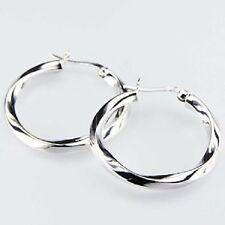 Hoop Earrings 925 Sterling Silver Twisted Shape Shiny Stylish 30mm Hight
