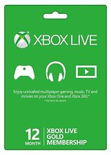 Microsoft Xbox One/360 12 Month Live Gold Membership - Fast Delivery