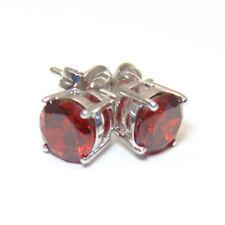 Diamond-Unique 4 Claw Garnet Studs Sterling Silver