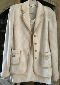 ST. JOHN COLLECTION CREAM TWEED KNIT JACKET SZ. 8 SKIRT SUIT SZ. 10 TWO PC. USA