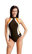Badeanzug Olivia mit geschlossenem Rücken braun/orange/weiß Gr. 46 GWINNER