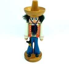 "Vintage East Germany Nutcracker Wood Handmade Hand painted Mexican Sombrero 11"""