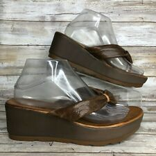 "Miz Mooz 9.5-10M Brown Soft Leather Platform Casual Sandal 2.5"" Wedge Heel"