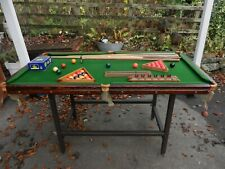 VINTAGE SLATE BED SMALL SNOOKER TABLE WITH LOTS OF EXTRAS  - GOOD CONDITION