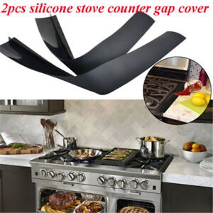 2 Pack Silicone Kitchen Stove Counter Gap Cover Oven Guard Spill Seal Filler
