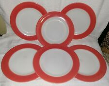 "6 Vintage Pyrex Pink Flamingo Milk Glass Luncheon Salad Plates  8"""