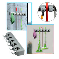 Kitchen 5 Position Wall Mount Mop Broom Holder Hanger Cleaning Home Organizer US