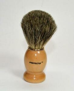 """NEW Perfecto Pure Badger Shaving Brush with wooden handle 4 ¼"""" tall"""