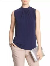 Banana Republic Sleeveless Gathered Mock-Neck Black/Blue/Olive New Top S M L XL