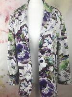 Linen Flower Blazer Tailored Jacket sz 22 24 Gina Laura /b1