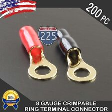 "8 Gauge Gold Ring Terminal 200 Pack Wire Crimp Cable Red Black Boots 3/8"" Stud"