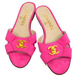 CHANEL CC Logos Turnlock Motif Shoes Sandals Pink Suede #36 AK38167f