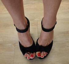 VINTAGE black suede ROCKABILLY PEEPTOE WEDGE 7  7.5 peep-toe PINUP heel BOW shoe