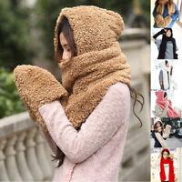 Lovely Women Winter Warm Fluffy Hood Scarf Earflap Hat Snood Gloves With Pocket