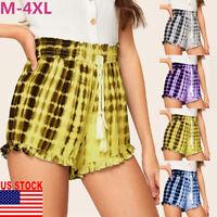 Women Summer Shorts Drawstring Loose Elastic High Waist Hot Pants Short Trousers