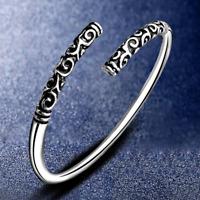Fashion Women 925 Solid Silver Hoop Sculpture Cuff Bangle Bracelet Jewelry JT