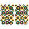 56 Stk. Blumen Aufkleber Bunt Glanz Sticker Selbstklebend Retro 70er Flower R063