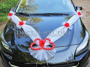 Dekorations-Set für Brautauto Hochzeit Autodeko Autoschmuck Weiß, AM001-01 /AT