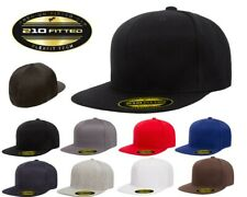 FLEXFIT Premium Original FLATBILL 6-Panel Fitted Baseball Cap HAT New!