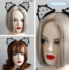 Adult Black Mesh Cat Ears Headband Fancy Dress Cat-woman Halloween Dress Up Hen