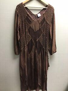 Ladies Brown Vintage Medieval Witch Dress Hippie Boho UK M/L