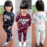 2PCS Kid Baby Girls Clothes Long Sleeve Top Sweatshirt Tracksuit+Pants Outfit NE