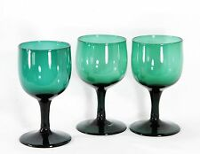 3x antique 18th C White Wine Glass, ca.1790 Holland, blue green crystal