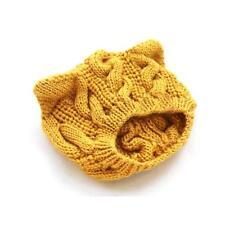 Cute Women Warm Winter Cat Ear Shape Elastic Beanie Cap Knit Ski Hats Yellow GA