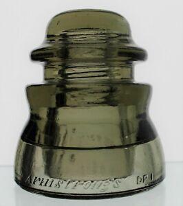 SMOKEY GREEN CD 155 ARMSTRONG DP 1 GLASS INSULATOR