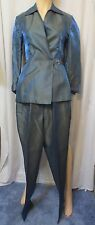 Zion New York Sharkskin Evening Pant Suit Metallic Blue Blazer Jacket Sz 8