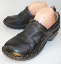 B.O.C Born Concept Womens Wedge Clogs US 9M EU 40.5 Black Leather Slip-On Work