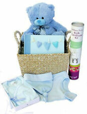 BABY BOY Gift Hamper, Blue Teddy Romper Bib Hat Album & Birth Certificate Kit