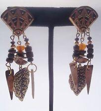 Lady Remington Natural Tone Leaf Bead Design Pierced Dangle Earrings