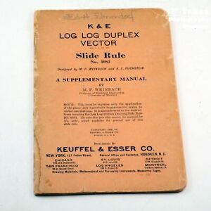 K & E 1939 Manual #4083, LOG LOG DUPLEX VECTOR Slide rule, 37 pages