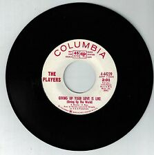 """the players 7"""" 45 giving up your love is like /guilty  4-44239  wl promo   vg+"""