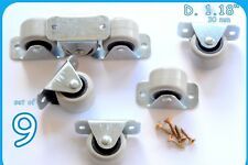 9 Rubber Rigid Fixed Caster Wheels Casters 30mm Bed Drawer Furniture Boxes
