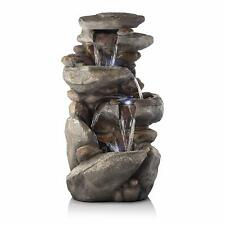 Alpine Corporation 4-Tier Rock Water Fountain with LED Lights Yard Art Decor
