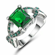 Princess Cut Green Emerald CZ Wedding Ring 10KT White Gold Filled Jewelry Size 8