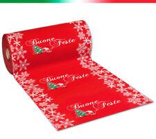 Passatoia rossa natalizia BUONE FESTE AL METRO H100 cm tappeto corsia natale