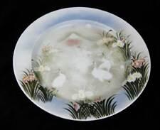 "Japanese Hand Painted Serving Bowl Platter 15"" Cranes, Iris Flowers, Fuji Signed"