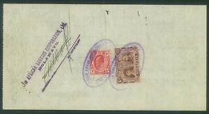 RHODESIA - 1912 Cheque with 6d (P14) Double Head + 1d KEVII Transvaal (ES579d