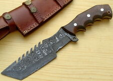 "Custom Made Damascus TopSteel 11"" Tracker Hunting Knife + Sheesham Wood Handle"