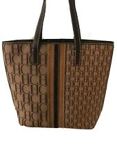 CAROLINA HERRERA MONOGRAM CANVAS LEATHER TOTE HANDBAG
