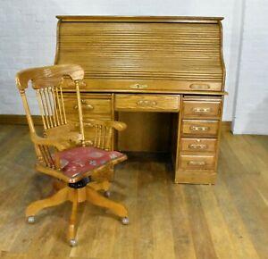 Large oak roll top bureau writing desk with swivel desk chair