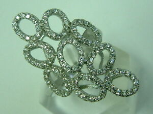CLASSY REAL SILVER ULTRA MODERN DIAMONDS LOOK CHUNKY OVALS ELONGATED RING