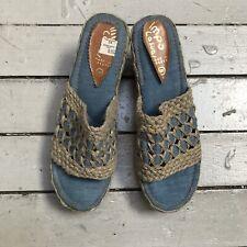 Vtg 70s Impo Casual Greece Denim Woven Wood Wedge 3� Heel Sandal Boho Hippy 8